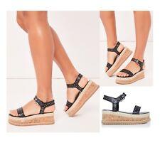 Womens Ladies Platform Wedge Heel Sandals Flatform Studded Strappy Summer Shoes
