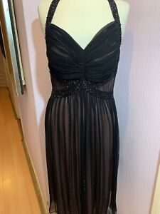 FERRI COUTURE WOMENS DRESS OCCASION PARTY SHEER BLACK PINK BEADS UK 14-16 IT 46