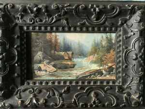 Huile sur bois panneau pêcheur torrent Suisse Autriche Allemagne ? peinture
