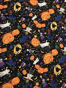 """Vintage Halloween Tablecloth Ghosts Witch Jack O' Lantern Fabric Cutter 59""""x83"""""""