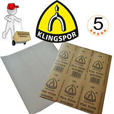Wet and Dry Sandpaper Klingspor 5 pack Grits 800, 1000, 1200, 1500, 2000, 2500