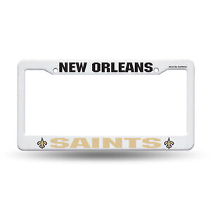 New Orleans Saints White Plastic License Plate Frame NEW 6x 2 Inches Free Ship