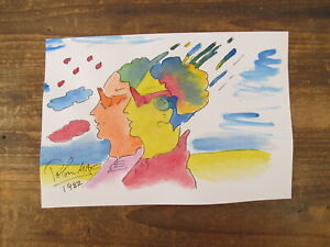 Peter Max HAND SIGNED & PAINTED Original Watercolor Painting Retro Metro couple