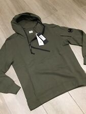 C.P. Company Diagonal Zip Funnel Neck Hooded Sweatshirt Military Green RRP £220-