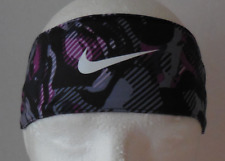 NIKE Unisex Printed Adjustable Fury Headband Color Black/Bold Berry/White New