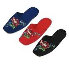 Handmade Embroidered Red & Blue Floral Chinese Women's Cotton Slippers New