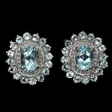 GORGEOUS! NATURAL OVAL 8x6mm TOP SKY BLUE TOPAZ STERLING 925 SILVER EARRINGS