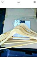 Amazon Basics Wooden Hangers with Notches 30 Pack Natural W/Swiveling Handle.