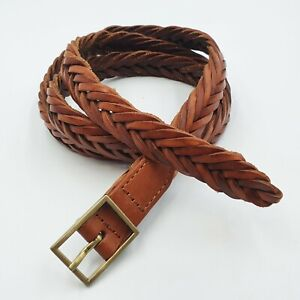 Womens Size M Rust Brown Fishtail Braided Woven Leather Slim Hip Belt