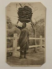 Vintage 1910s India Postcard Woman Carrying Cow Dung Fuel Cakes On Her Head