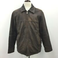 Perry Ellis Portfolio Brown Distressed Lambskin Mens Leather Jacket Size M Used