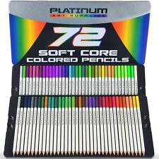 72 Professional Grade Soft Core Colored Pencils Platinum Artist Tin Case
