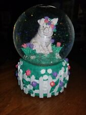"Pig with Spring Flowers Water Glitter Globe Music Box ""You Are My Sunshine"""