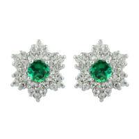 2,60KT 585er Weißgold Natürlich Grün Smaragd EGL Zertifiziert Diamant Ohrstecker