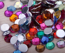 200pcs 8mm Acrylic Crystal Round Faceted Flat Back  Jewelry Beads DIY Mixed