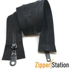 5 x  Black Plastic Chunky Teeth 2 way zip zipper, 75cms long