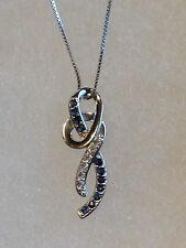 NEW 1/2 Carat tw Blue & White Sapphire Swirl Pendant Necklace Sterling Silver