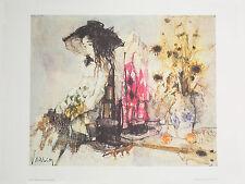 """Femme Au Bouquet Vintage Fine Art Lithograh by artist Jean Jansem 19"""" x 28"""""""