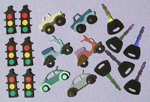 6 Vehicles,6 Keys and 6 Traffic Lights  (Quickutz) Card Topper Embellishments