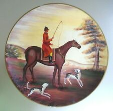 """Man on Horse & 2 Dogs Country Landscape Fox Hunt Decorative 10"""" Plate Wall Art"""
