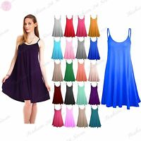 Womens Sleeveless Camisole Swing Dress Floaty Flare Strappy Skater Long Top 8-26