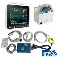 "FDA Multi-parameter 12"" Vital Sign Patient Monitor ECG NIBP RESP TEMP SPO2 PR CE"