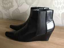 Clarks Black Leather Ladies Low Wedge Ankle Boots UK Size 6