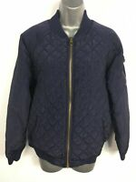 WOMENS NEW LOOK NAVY BLUE QUILTED LIGHTLY PADDED ZIP UP BOMBER JACKET COAT UK 12