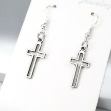 925 Sterling Silver Hooks Vintage Silver Alloy Small Gothic Cross Earrings NEW