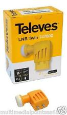 CONVERTITORE LNB TWIN 2 USCITE INDIPENDENTI 0,3DB TELEVES 747802 7478 SKY HD