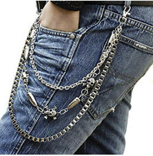 Crystal Skull Silver Belt Chain /rockers Metal Wallet Chain