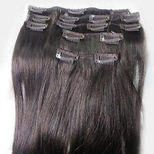 Full Head Echthaar Clip in Hair Extensions Haarverlängerung Glatt Natürlich Haar