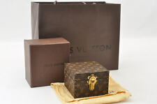 """Auth Rare Louis Vuitton Monogram Canvas Mini Jewelry Box Hard Trunk Case #S3710"