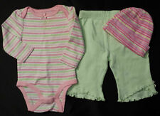 Girl's Size 3 M 0-3 Month 3 Pc Striped L/S Top, Green Bear Ruffled Pants & Cap