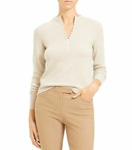Theory Womens Sweater Beige Size Large L Henley Pullover Cashmere $335- 141
