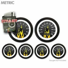 Gauge Face Set Retro Metric Carbon Fiber Yellow Flame, Black Needles & Rings GT