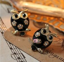 Retro Fashion vintage Black Owl Earrings stud with Rhinestones UK Seller New
