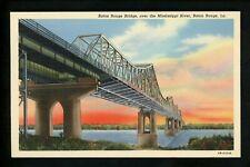 Bridge postcard Louisiana LA, Baton Rouge Bridge linen Curt Teich