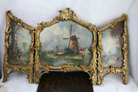 Unusual Tryptich Oil panel painting Dutch School signed louis XVI frame 1920