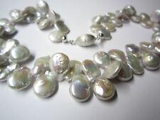 Kette Perlenkette große Flat-Süßwasserperle grau mit Magnetschließe