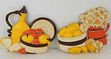 Vintage Syroco Fruit Lemons & Daisies Wall Plaques Yellow Orange Brown Mcm theme