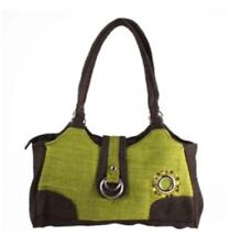 Hemp Handbag ~ EARTH DIVAS ~ Green, Brown, Double Ring, Embroidered Boho Purse