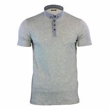 Mens Polo T Shirt Brave Soul Chimera Chambray Collared Cotton Casual Top Grey Marl Large