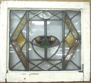 """OLD ENGLISH LEADED STAINED GLASS WINDOW Stunning Rare Abstract Floral 20"""" x 18"""""""