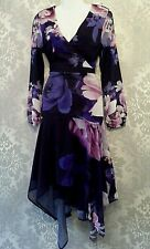 LIPSY SIZE UK 14 CHIFFON WRAP FIT & FLARE HANKY HI LOW MIDI DRESS @ NEXT £70