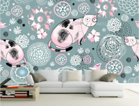 3D Cartoon Cat Flower 838 Wallpaper Mural Paper Wall Print Wallpaper Murals UK