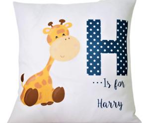 "Personalised Baby Boy little giraffe - 16"" white cushion cover boy nursery gift"