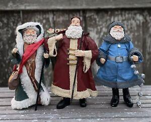 Vintage Cloth Fabric Mache Santa Claus Figurines Father Christmas Set of 3
