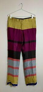 $1500 DRIES VAN NOTEN Gold Yellow Burgundy Blue Striped Silk Pants AU 10