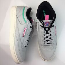 REEBOK Club C 85 RAD Shoes Grey Leather Pink Vintage Sneakers Shoes Mens 14 New